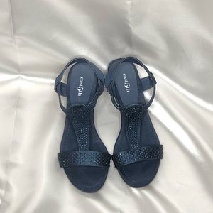 East 5th Navy Wedge Sandals